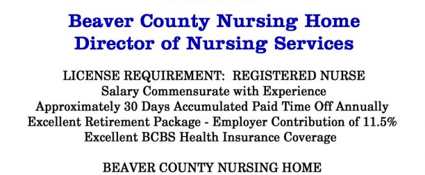Beaver County Nursing Home seeking Director of Nursing